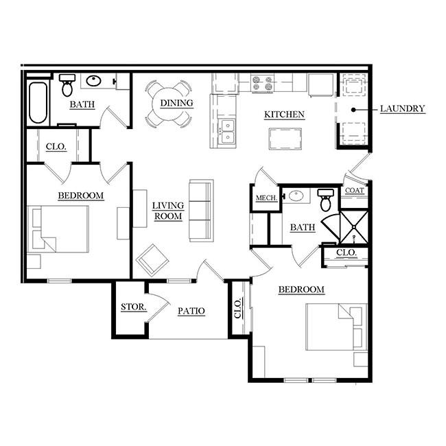 Towne Square Apartments: Towne Square Apartments Floorplan 1