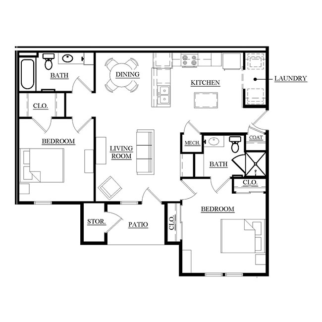 Towne Square Apartments Floorplan 1