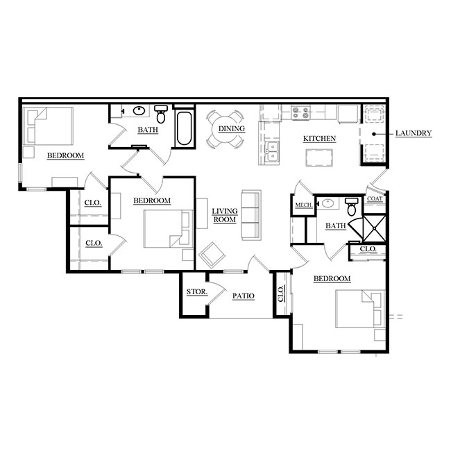 Towne Square Apartments Floorplan 2