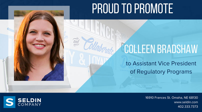 COLLEEN BRADSHAW PROMOTED TO ASSISTANT VICE PRESIDENT OF REGULATORY PROGRAMS
